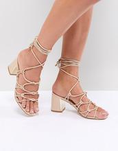 Boohoo | Босоножки на каблуке со шнуровкой Boohoo - Бежевый | Clouty