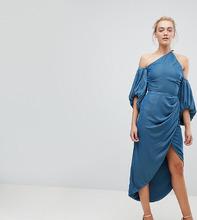 ASOS   Бархатное платье миди на одно плечо с драпировкой ASOS TALL - Синий   Clouty
