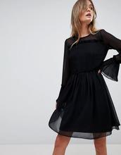 Vila | Сетчатое платье мини с оборками Vila - Черный | Clouty