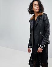 AllSaints | Кожаная oversize-куртка с воротником из искусственного меха AllSaints | Clouty
