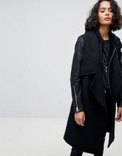 AllSaints | Пальто с кожаными рукавами AllSaints - Серый | Clouty