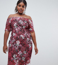 Paper Dolls | Кружевное платье миди с цветочным принтом и широким вырезом Paper Dolls Plus - Мульти | Clouty