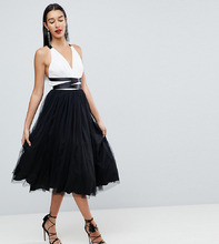 ASOS | Платье миди для выпускного з тюля с лентой на завязке ASOS TALL | Clouty