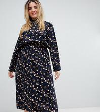Uttam Boutique   Плате с длинными рукавами и цветочным принтом Uttam Boutique Plus - Темно-синий   Clouty