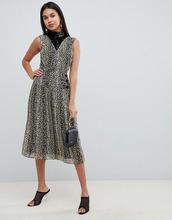 ASOS | Плиссированное платье миди с леопардовым принтом и пайетками ASOS DESIGN - Мульти | Clouty