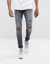 DML   Серые супероблегающие рваные джинсы с напылением DML - Серый   Clouty