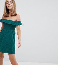 Fashion Union | Платье с открытыми плечами и сборками Fashion Union Petite - Зеленый | Clouty