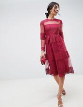 ASOS | Платье миди из кружева и сетки в горошек ASOS DESIGN premium - Красный | Clouty
