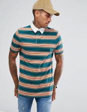 ASOS   Длинная футболка-поло в полоску ASOS - Зеленый   Clouty