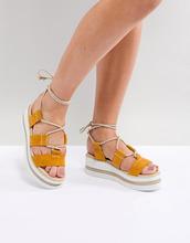 ASOS | Замшевые туфли на платформе с завязками ASOS DESIGN - Желтый | Clouty