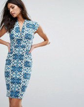 Vesper | Платье-футляр с принтом и коротким рукавом Vesper - Зеленый | Clouty