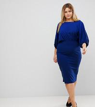 ASOS | Платье-футляр миди с рукавами летучая мышь ASOS CURVE - Синий | Clouty