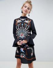 ASOS | Платье мини с вышивкой и длинными рукавами ASOS DESIGN - Черный | Clouty