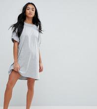ASOS | Платье-футболка с отворотами на рукавах ASOS PETITE Ultimate - Серый | Clouty