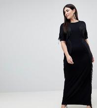 ASOS   Платье макси с бахромой ASOS CURVE - Черный   Clouty