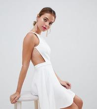 ASOS   Платье мини с вырезом в стиле борцовки ASOS DESIGN Petite - Белый   Clouty