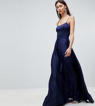ASOS   Атласное платье макси на бретельках ASOS Tall - Темно-синий   Clouty