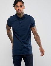 ASOS | Трикотажная длинная облегающая футболка-поло ASOS - Темно-синий | Clouty