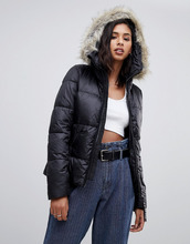 G-Star   Дутая куртка из переработанного полиэстера с капюшоном и искусственным мехом G-Star whistler - Черный   Clouty