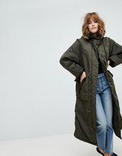 Monki | Удлиненная дутая куртка Monki - Зеленый | Clouty