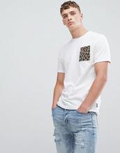 Only & Sons | Футболка с леопардовым принтом и карманом Only & Sons - Белый | Clouty