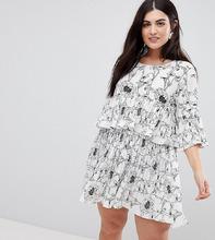 AX Paris Plus | Ярусное платье с цветочным принтом AX Paris Plus - Мульти | Clouty