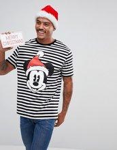 ASOS   Свободная новогодняя футболка Mickey в полоску ASOS - Белый   Clouty
