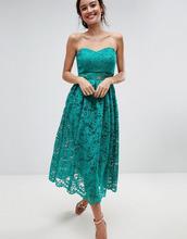 ASOS | Кружевное платье-бандо миди для выпускного ASOS - Зеленый | Clouty