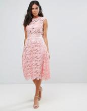 Forever Unique | Кружевное платье миди Forever Unique - Розовый | Clouty