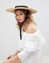 ASOS | Соломенная шляпа канотье ASOS - Бежевый | Clouty