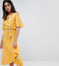 Influence | Платье миди с завязкой и цветочным принтом Influence Tall - Желтый | Clouty