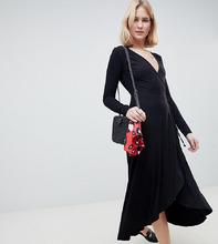 ASOS   Чайное платье миди с длинными рукавами и запахом ASOS TALL - Черный   Clouty
