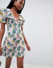 Fashion Union | Чайное платье с рукавами клеш и тропическим принтом Fashion Union - Мульти | Clouty