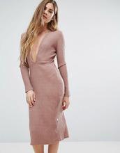Nytt | Розовое платье с декольте спереди и длинным рукавом NYTT - Розовый | Clouty