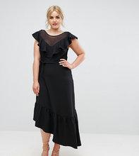 Club L   Асимметричное платье с оборками Club L Plus Senortia - Черный   Clouty