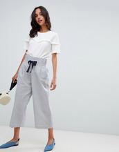 Vila | Широкие брюки в полоску с завязкой Vila - Темно-синий | Clouty
