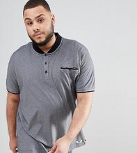 Duke | Серая меланжевая футболка-поло с воротником на пуговицах Duke King Size - Серый | Clouty
