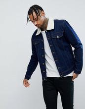 Hoxton Denim   Темная джинсовая куртка с воротником из искусственного меха Hoxton - Синий   Clouty