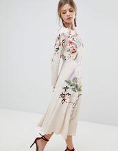 ASOS   Платье миди с цветочной вышивкой ASOS - Кремовый   Clouty