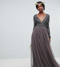 Maya | Темно-серое платье макси с длинными рукавами и запахом Maya Tall - Серый | Clouty