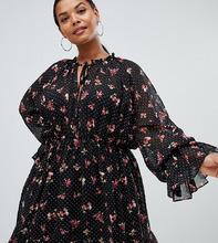 Missguided   Черное платье мини с завязкой на шее и цветочным принтом Missguided Plus - Черный   Clouty