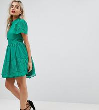 ASOS   Кружевное платье мини с пышными рукавами ASOS PETITE - Зеленый   Clouty