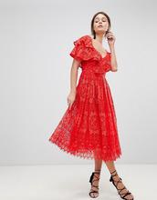 ASOS | Кружевное платье для выпускного на одно плечо ASOS - Красный | Clouty