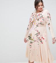 ASOS | Платье миди с вышивкой ASOS DESIGN Curve - Розовый | Clouty