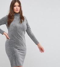 Club L | Платье металлик с высоким воротником Club L Plus - Серебряный | Clouty