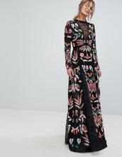 Frock And Frill | Платье макси с сетчатыми вставками и вышивкой Frock and Frill - Черный | Clouty