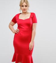 Club L | Облегающее платье миди с вырезом сердечком Club L Plus - Красный | Clouty