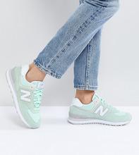 New Balance | Замшевые кроссовки New Balance 574 - Зеленый | Clouty