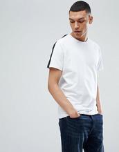 Selected Homme | Футболка с полосой на рукавах реглан Selected Homme - Белый | Clouty