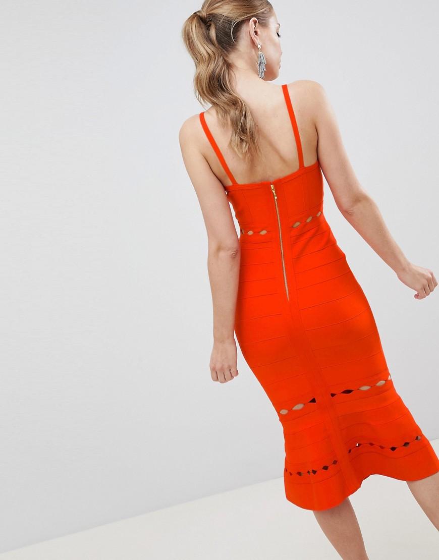 ASOS   Красный Бандажное премиум-платье миди с оборкой и вырезами ASOS DESIGN   Clouty